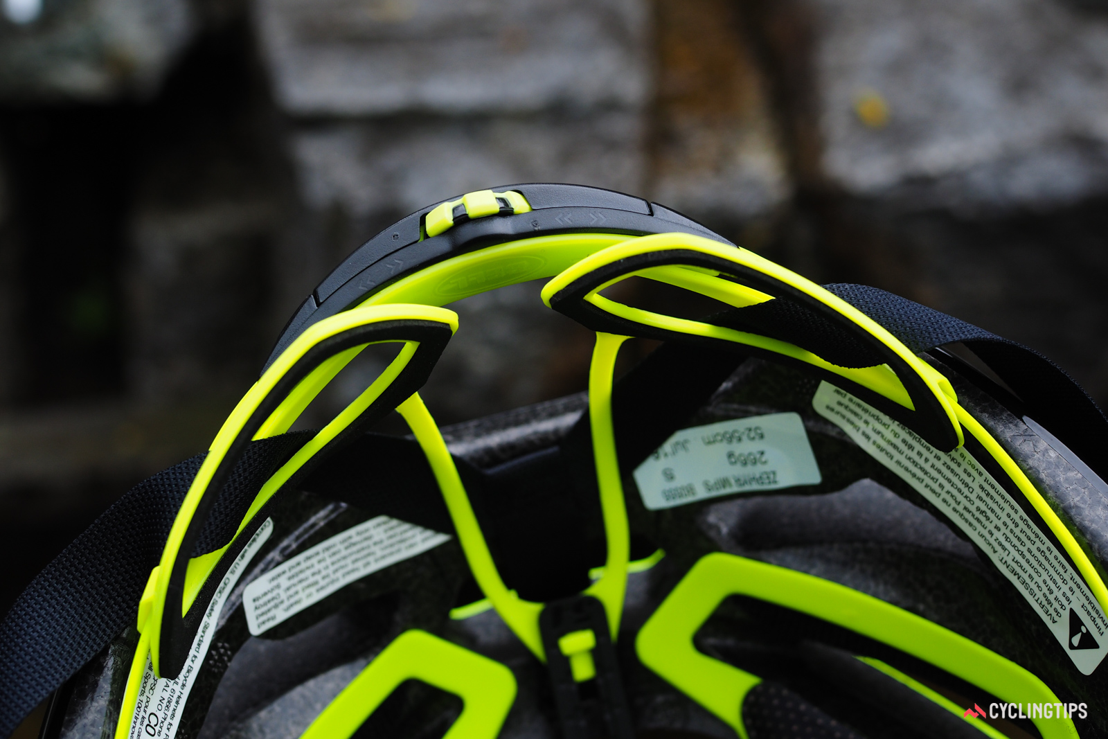 The spacing on the rear pads on the retention system can be adjusted for width. They're also lightly padded with a softer co-molded rubber to enhance their grip on your head.