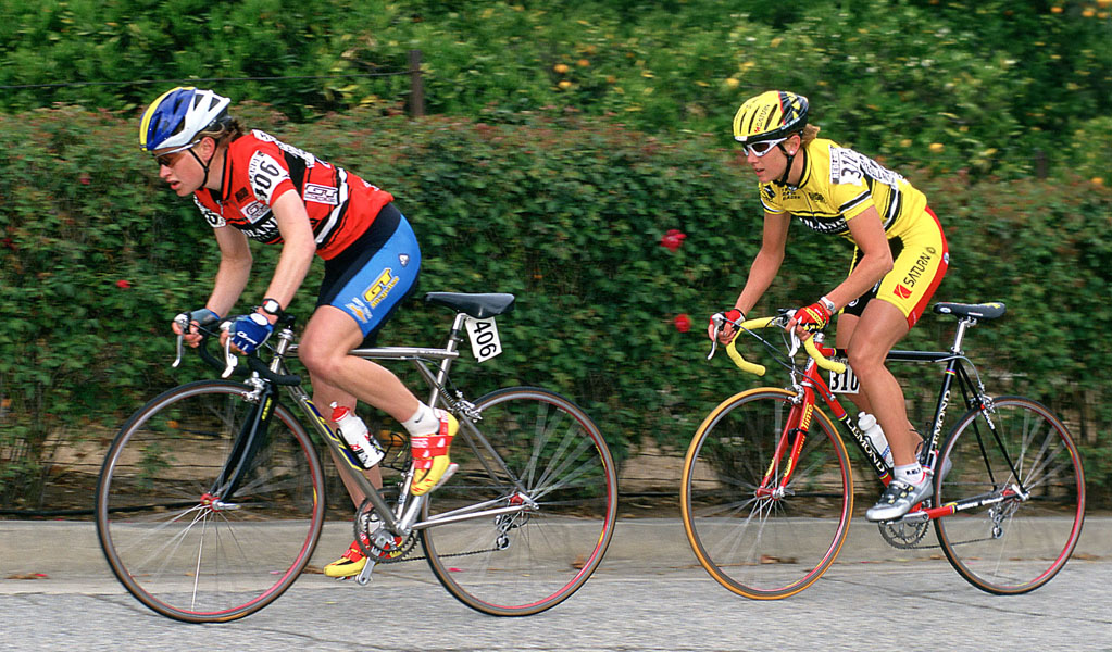 Lyne Bessette, in yellow, follows Allison Dunlap on the Sunset Loop, 1999 Redlands Bicycle Classic. Photo: Casey B. Gibson.