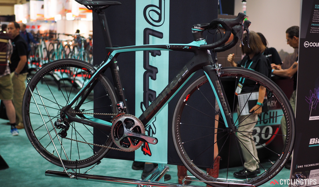 Bianchi's Oltre XR4 not only goes the aero route with a sleek shape, but also supposedly offers a smooth ride. The company's Countervail technology embeds damping materials into the carbon lay-up, which is said to help squelch vibrations before they get to the rider.