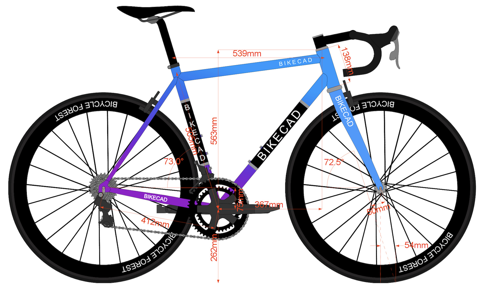 geometry of a bicycle encompasses parameters that influence the fit and the steering