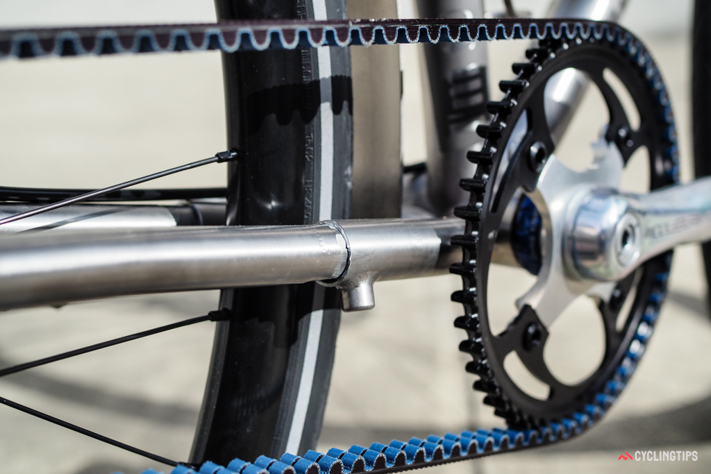 Instead of sliding dropouts or an eccentric bottom bracket, Bleakley uses his own telescoping chainstay design to tension the Gate belt drive.