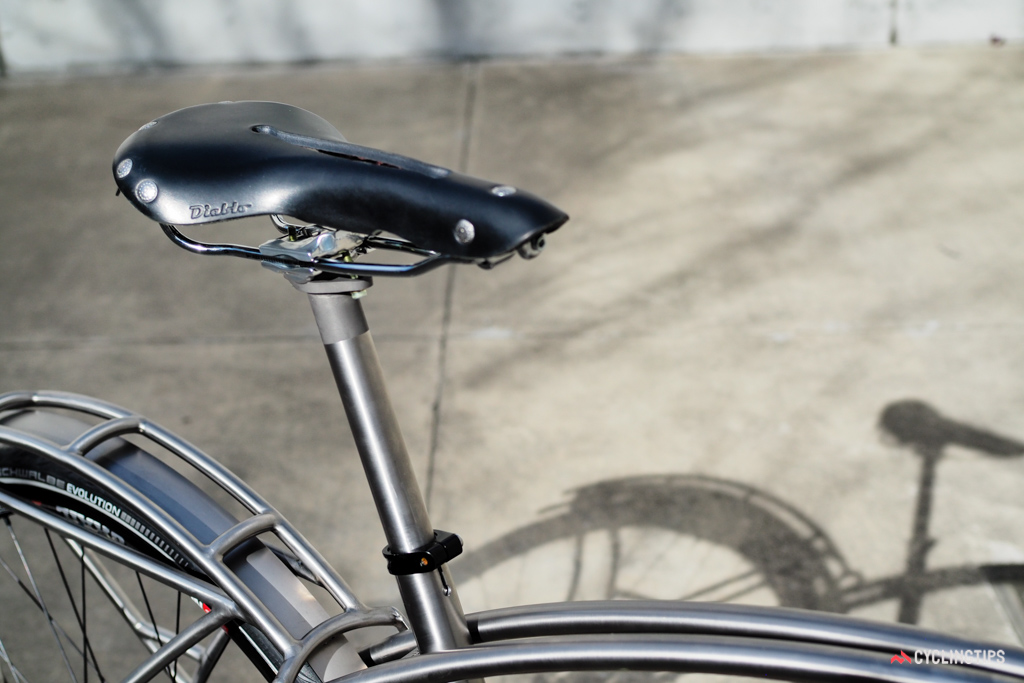 The custom seatpost uses a titanium shaft matched to a Thomson cradle. Topping this particular example is a Diablo leather saddle from Rivet Cycle Works.