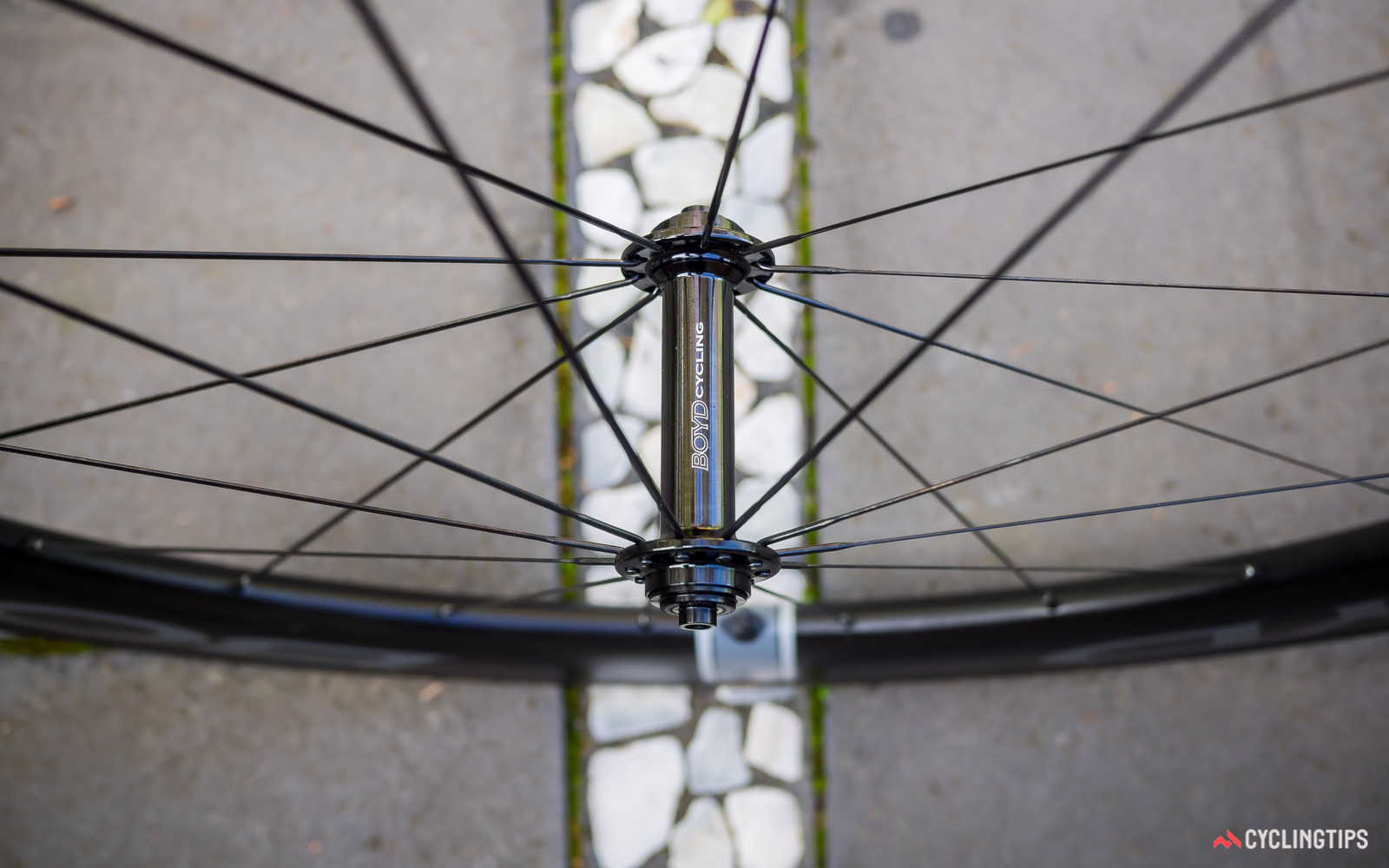 Widely spaced hub flanges add to the lateral stiffness of the front wheel.