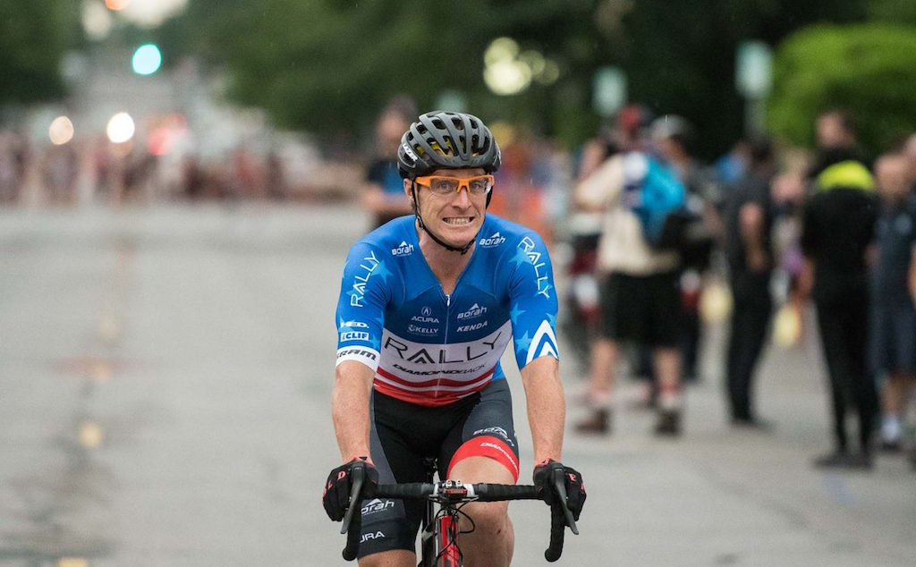 Rally Cycling had to redesign Brad Huff's national criterium championship jersey due the red stripes being horizontal and not vertical. Photo: Rally Cycling