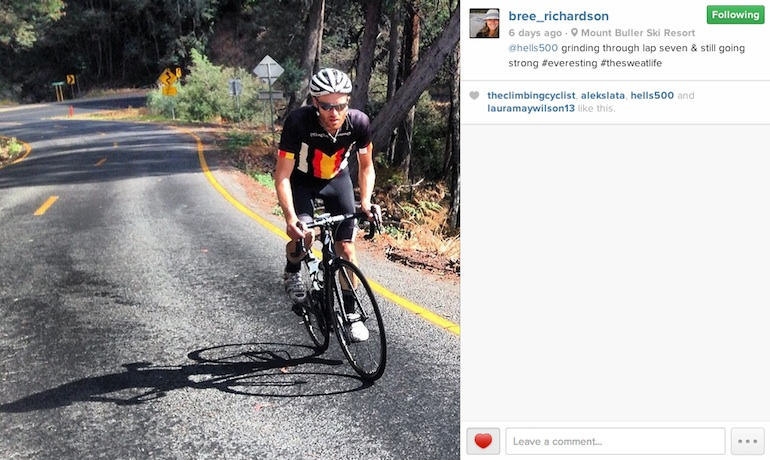 Andy rocking the new CyclingTips kit on his way to Everesting Mt. Buller.