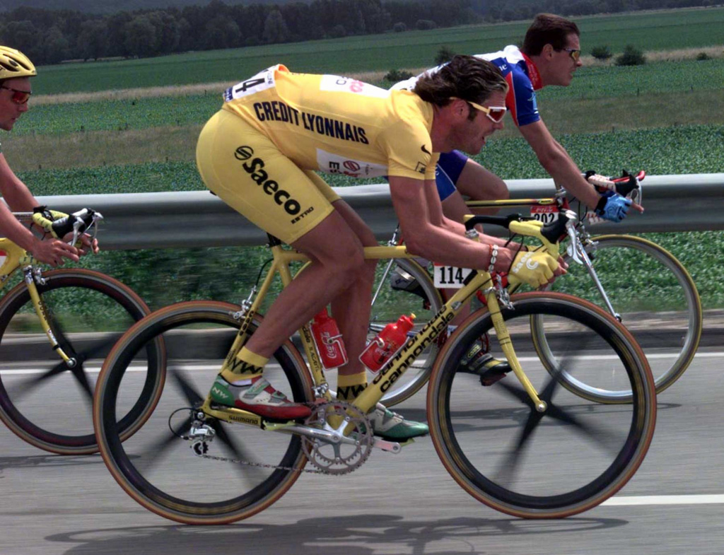 Yellow jersey, yellow shorts, yellow Cannondale CAAD 4, Spinergy Rev X wheels and no helmet. They were the days.