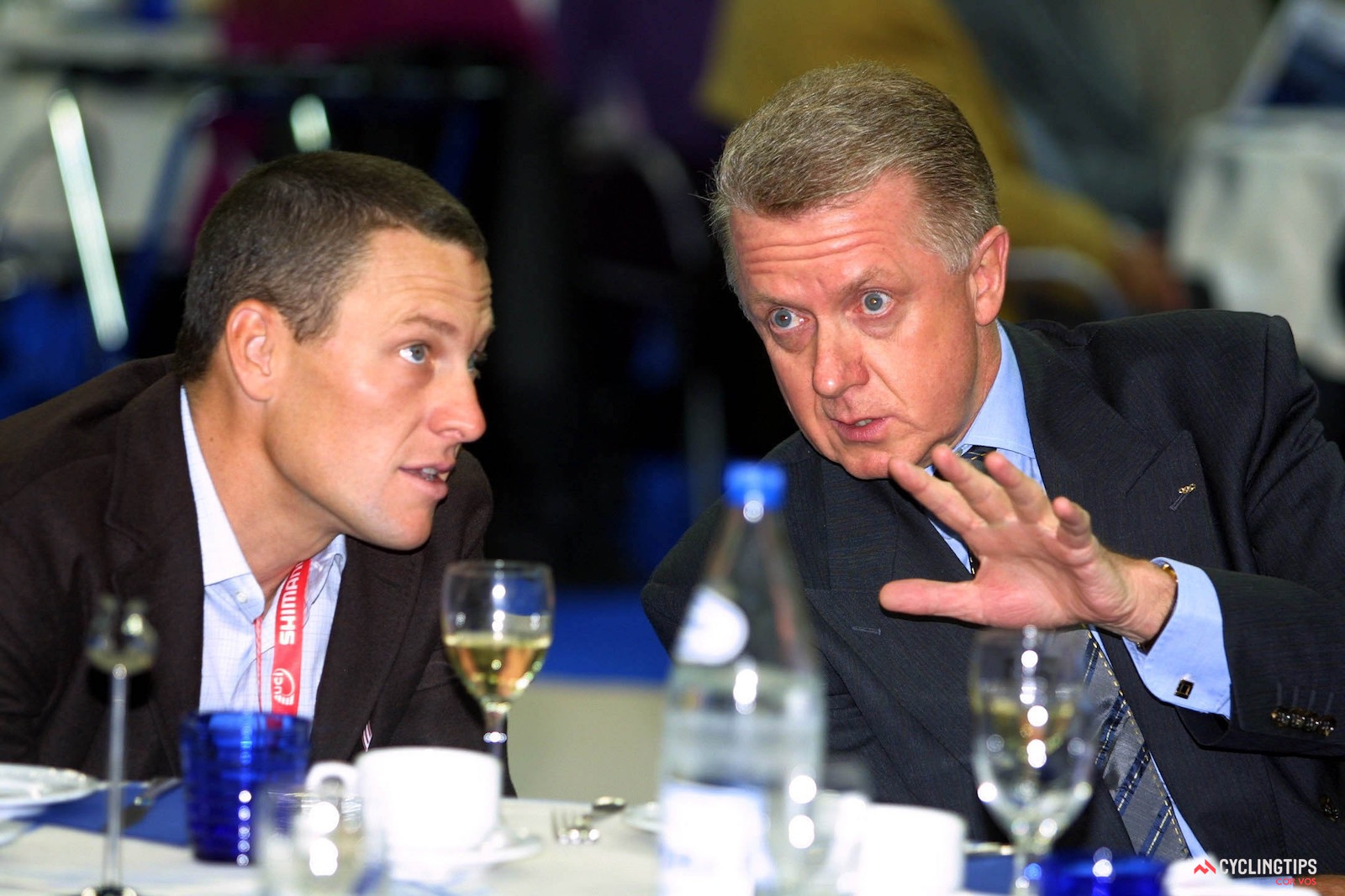 Lance Armstrong and former UCI president Hein Verbruggen in Antwerp, Belgium, in 2001. Photo: Cor Vos .