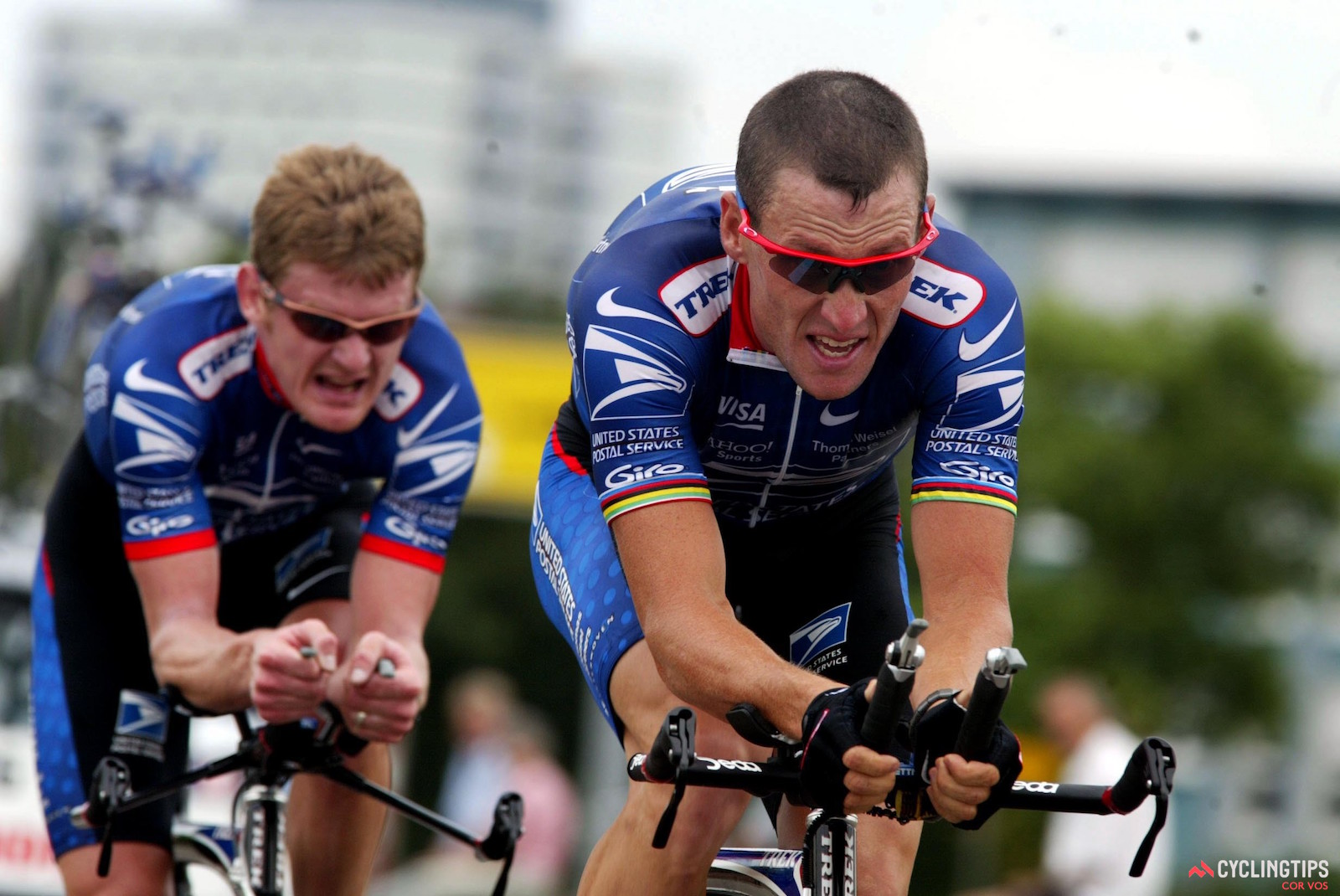 Floyd Landis and Lance Armstrong at the 2002 G.P. Karlsruhe. Photo: Cor Vos.