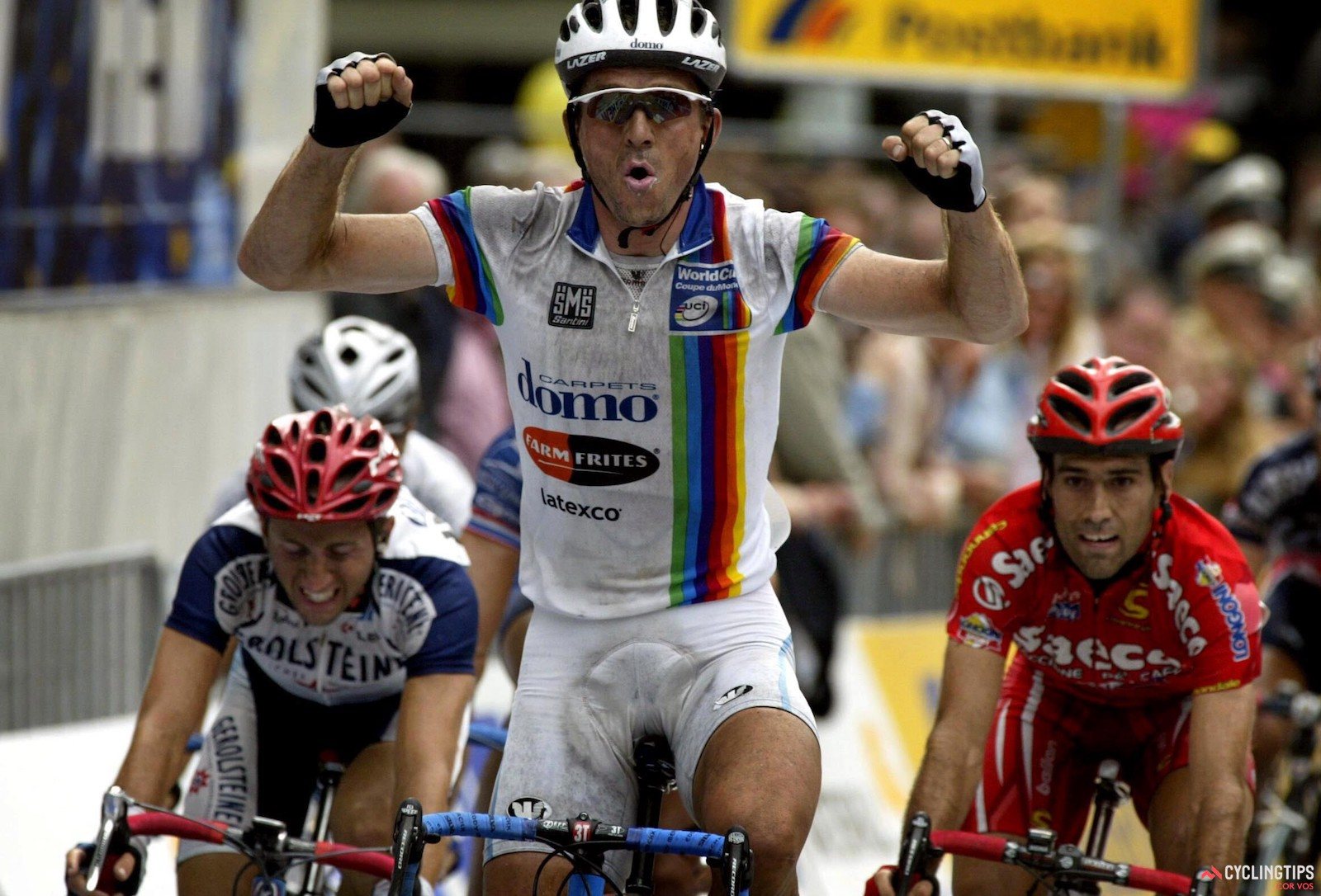 Belgian Johan Museeuw, pictured here at the 2002 HEW Cyclassics, spent much of his career in varying combinations of rainbow stripes. He was the 1996 world road champion, but was often seen sporting the vertical stripes of the UCI World Cup series leader, winning the overall title in 1996 and 1996. Photo: Cor Vos.