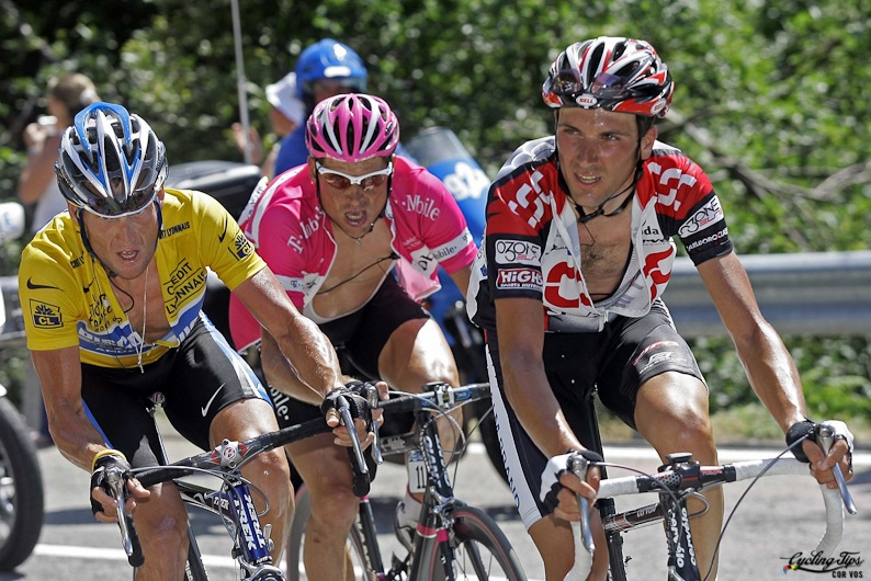Lance Armstrong (Discovery), Ivan Basso (CSC) and Jan Ullrich (T-Mobile)  during stage 14 of Tour de France 2005.