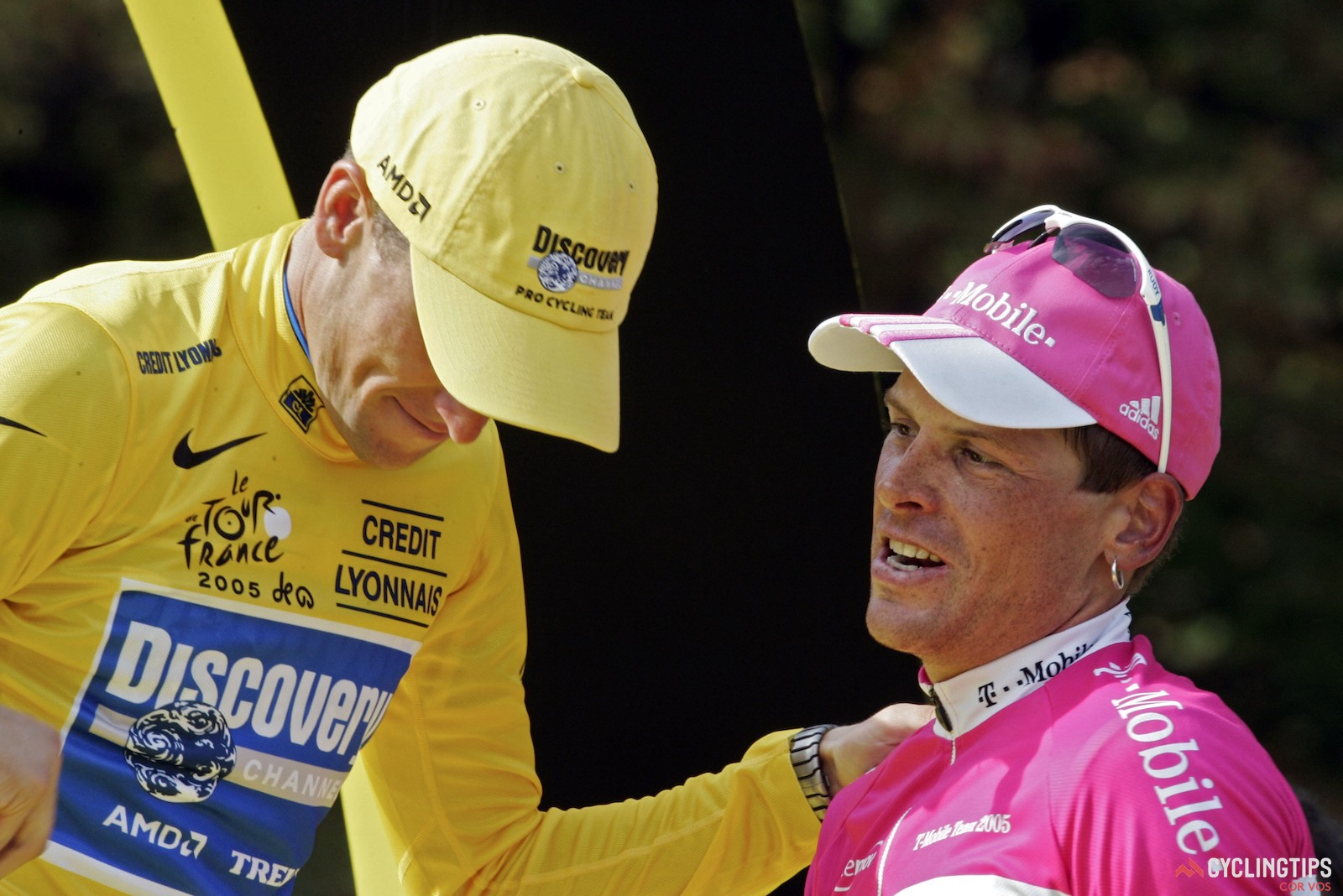 Lance Armstrong and Jan Ullrich, first and third overall at the 2005 Tour de France. The relationship between the former rivals has always been complicated, but cordial. Photo: Marketa Navratilova/Cor Vos.