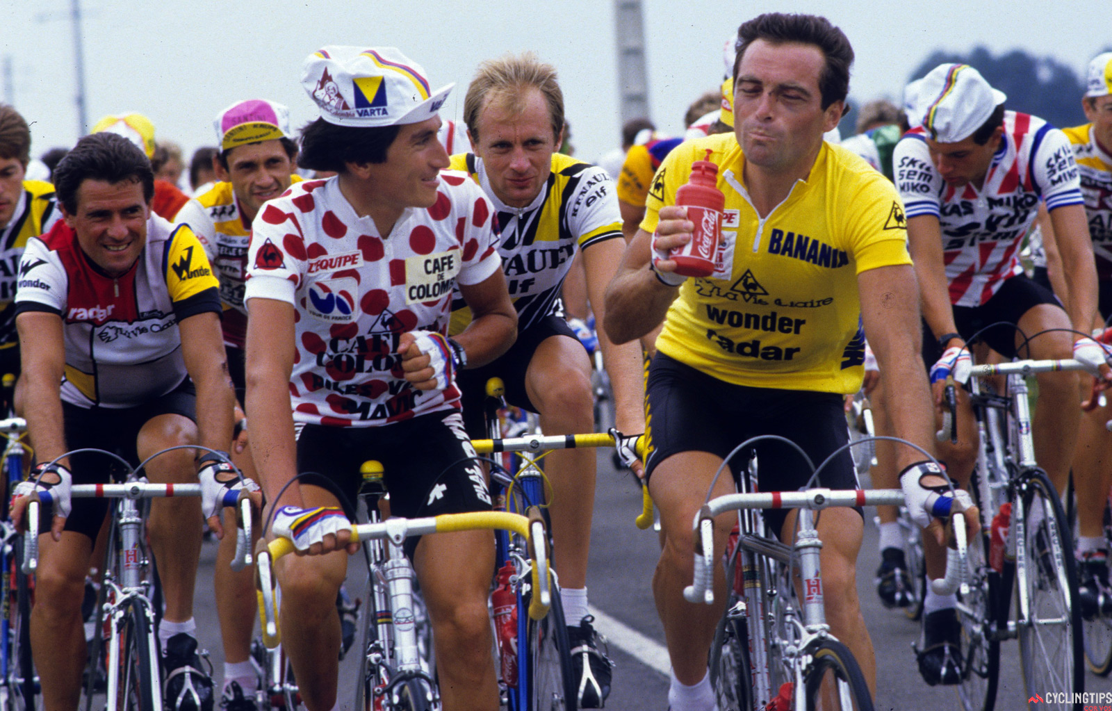 Mountains leader Lucho Herrera with five-time Tour de France winner Bernard Hinault. The odds of finding more riders like Herrera and Nairo Quintana are hampered by the issues involving cycling in Colombia.