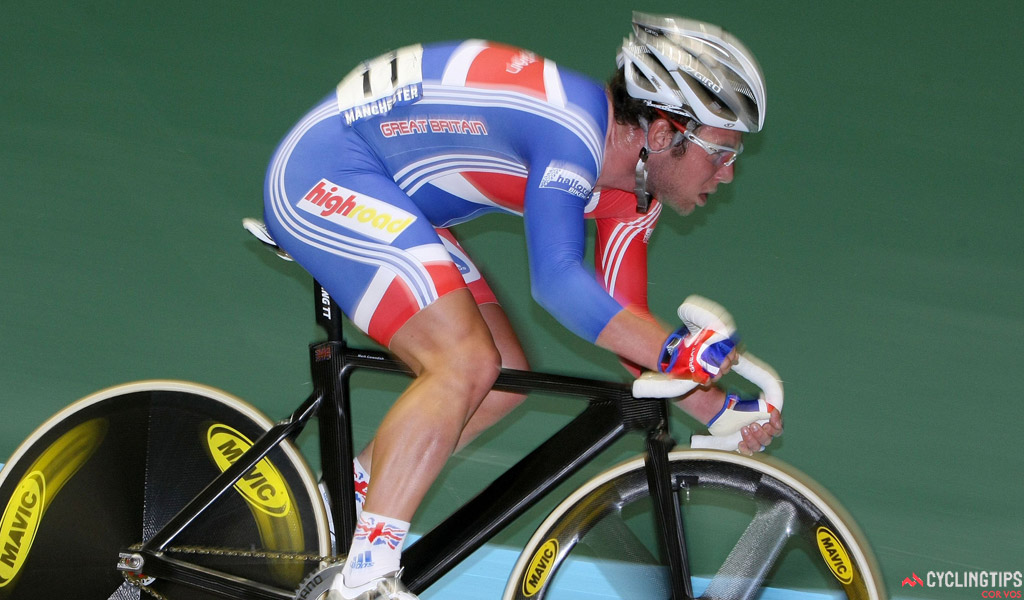 Mark Cavendish in action at the 2008 world track championships in Manchester, England
