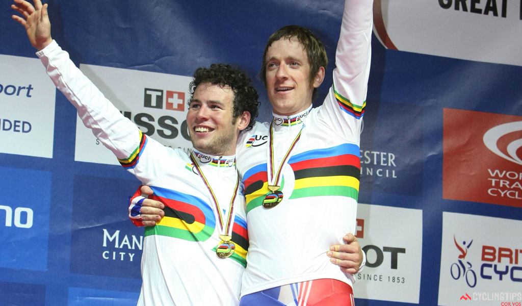Mark Cavendish and Bradley Wiggins (Great Britain) celebrate their madison world championship success in Manchester, England, 2008