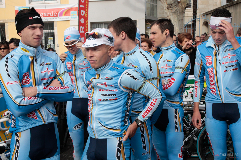 """Only the best of the best, six day track riders and  cyclocross riders can get away with leg warmers over shorts. In this case a Continental French squad Equipe Auber 93 are in the words of mr Holm """"looking silly""""."""