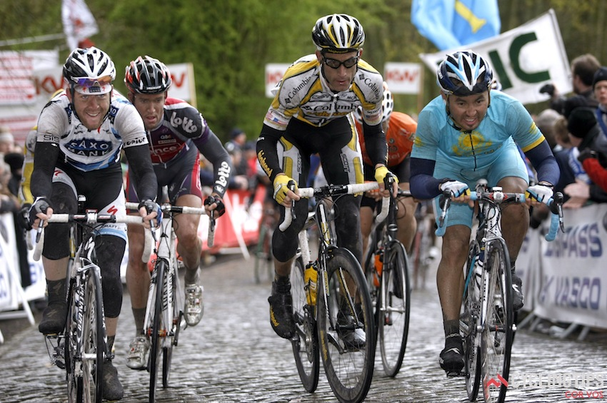 Goss (far left) on his way to third in the 2009 Gent-Wevelgem.