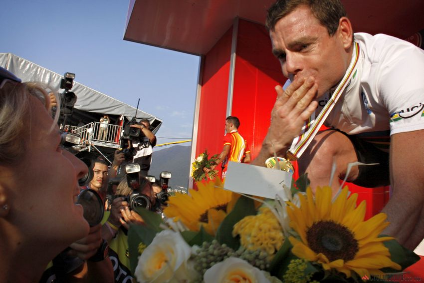Cadel after winning the world championships road race in Mendrisio, Switzerland in 2009.
