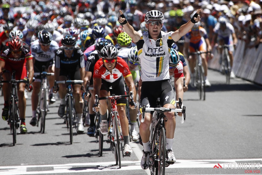 Matt Goss wins stage 1 of the Tour Down Under in 2011. He also won the Cancer Council Classic just before the Tour, and went on to finish second overall in the Tour Down Under.
