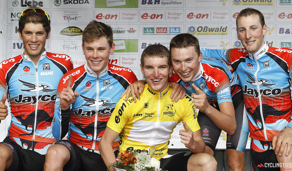 Jay McCarthy and Jayco AIS team-mates Nick Aitken, Michael Hepburn, Patrick Lane and Alex Carver after the stage two team time trial at the 2011 Thuringen Rundfahrt.