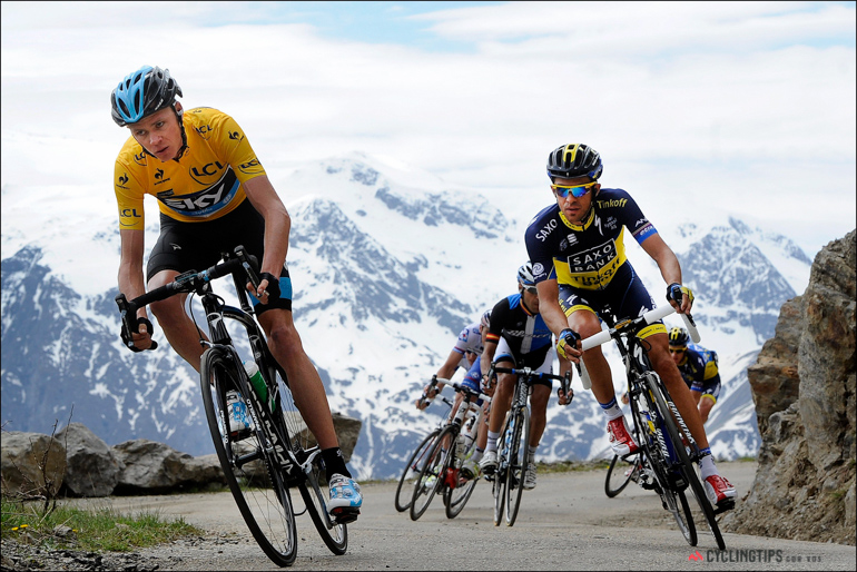 The peloton descends the Col de Sarenne in stage 7 of the Dauphine and it looks to have been resurfaced