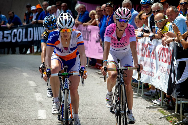Megan Guarnier and Marianne Vos (Team Rabobank Liv Giant) cross the line just ahead of TIff Cromwell.