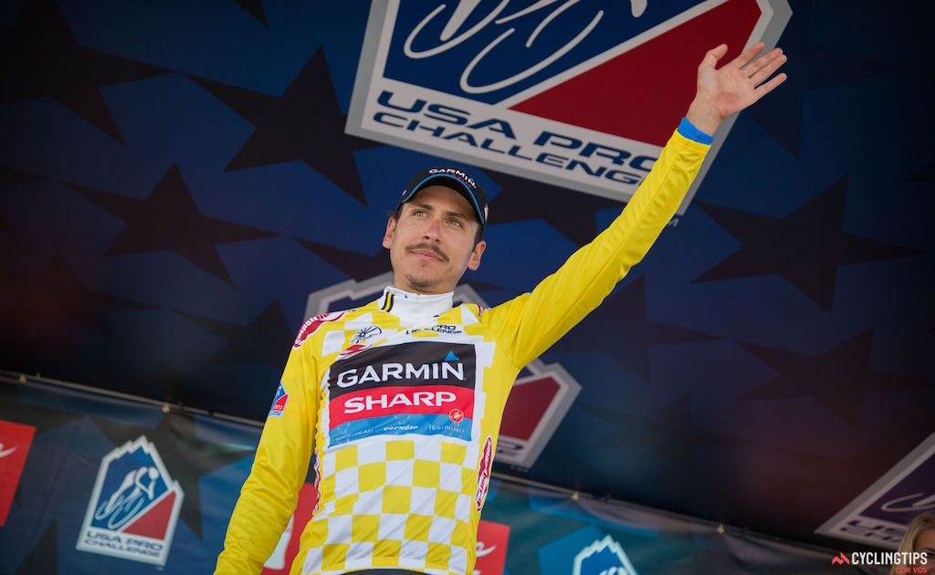 Lachlan Morton wore the the leader's jersey after Stage 3 of the 2013 USA Pro Challenge. Photo Wil Matthews/Cor Vos.