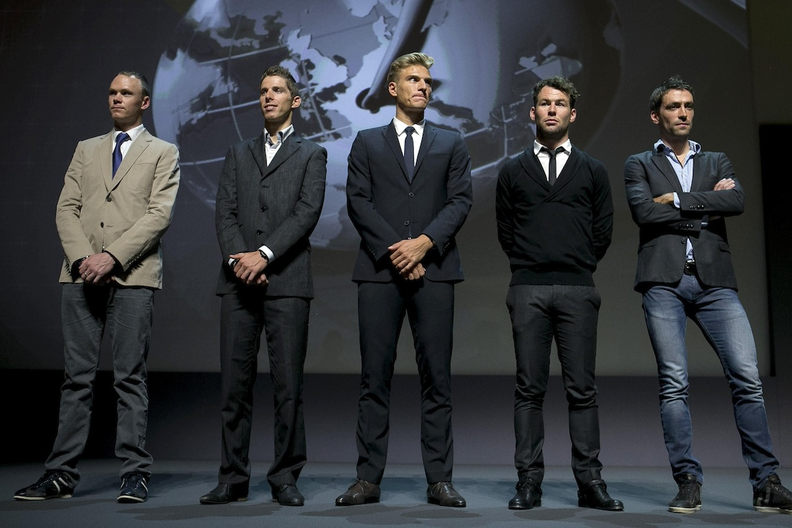 Christopher Froome, Rui Costa, Marcel Kittel, Mark Cavendish, and Christophe Riblon pictured during the presentation of the Tour de France 2014 at Palais des Congres de Paris.
