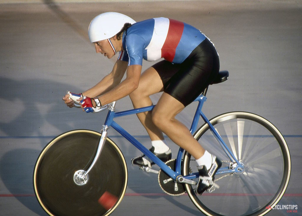 Jeannie Longo pictured during World Championships in 1986 in Colorado Springs; the same year and place she set her World Hour Record of 44.77km and the next year returned to set a new record of 44.718km.