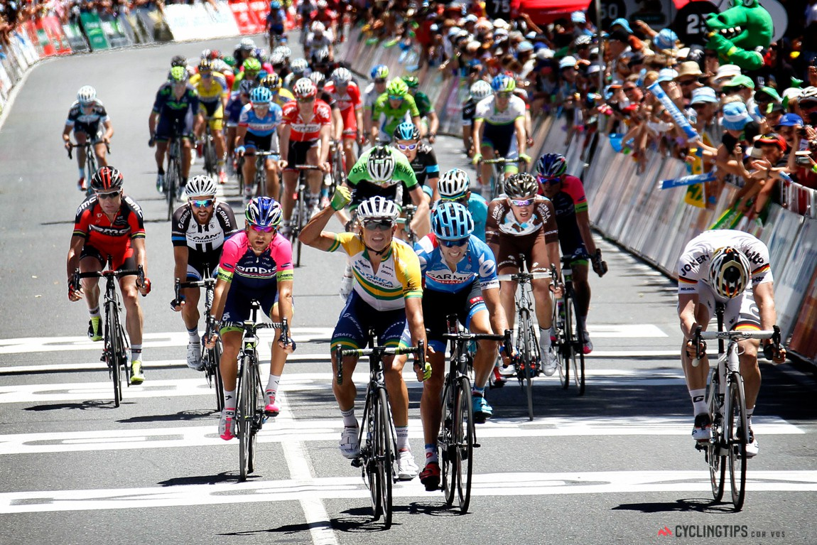 Simon Gerrans pips Andre Greipel and Steele von Hoff to take the win.