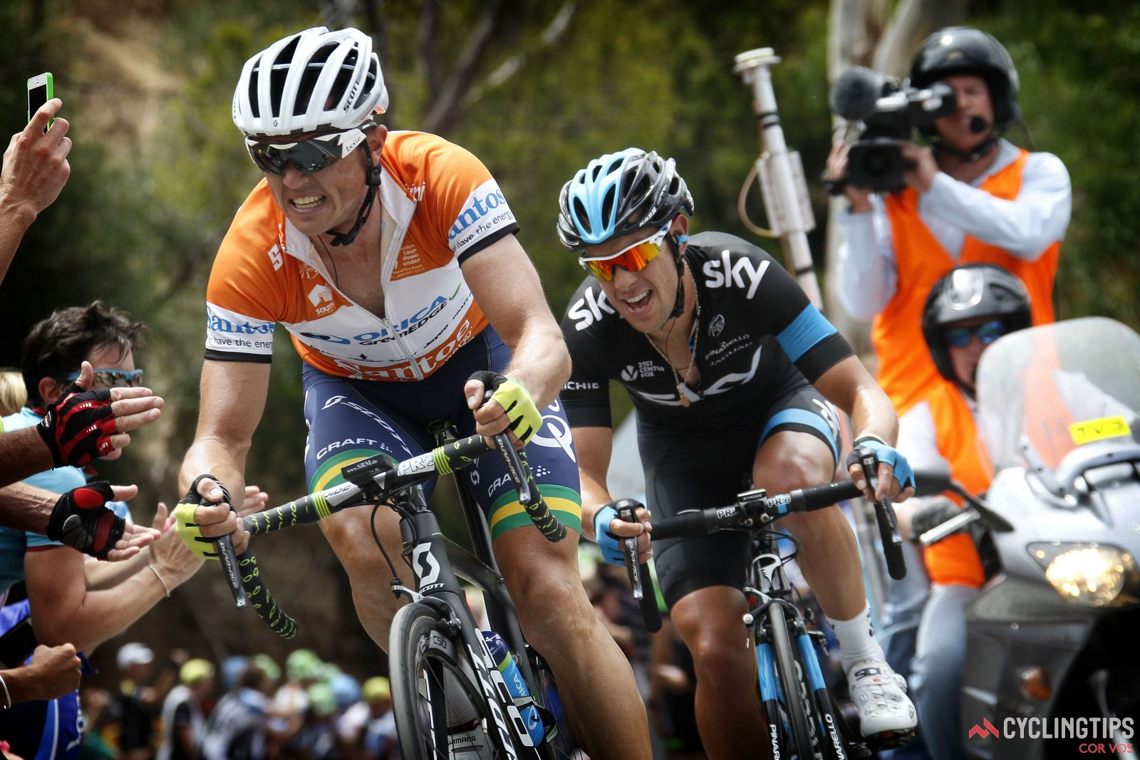 Stirling - South-Australia - wielrennen - cycling - radsport - cyclisme -  Simon Gerrans (Australia / Orica Greenedge Cycling Team) - Richie Porte (Australia / Team Sky)   pictured during  Santos Tour Down Under stage-3 from  Norwood  to Campbelltown on jan 23 2014 - photo Wessel van Keuk/Cor Vos © 2014