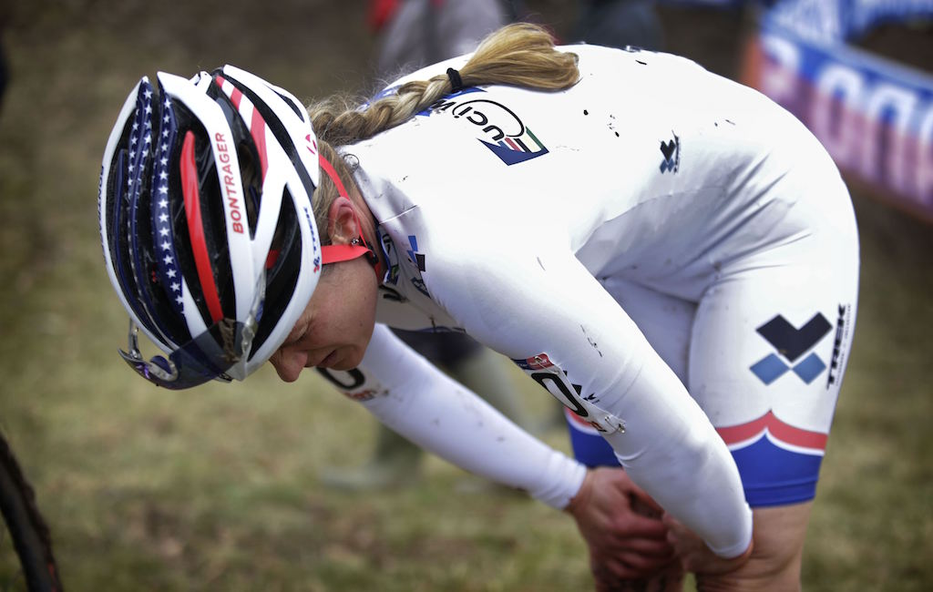 At the 2014 World Cup in Nommay, France, Compton abandoned after an asthma attack while wearing the white World Cup series leader's skinsuit. Photo by Cor Vos.