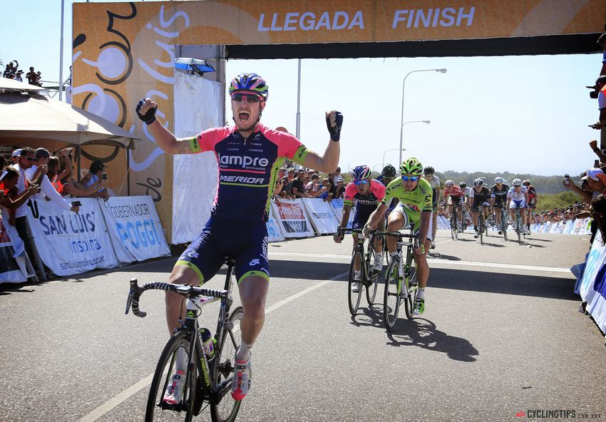 Sacha Modolo is in great form, having won four races in 2014 already, including stage 7 of the Tour de San Luis, pictured here.