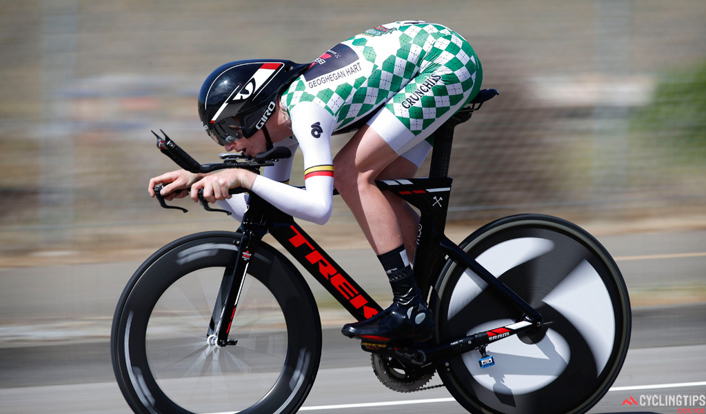 Tao Geoghegan Hart wearing the best young rider jersey during stage two of the 2014 Amgen Tour of California