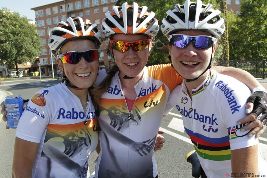 The leading ladies of Rabo Liv pictured together at Emakumeen Euskal Bira last year: Pauline Ferrand Prevot, Anna van der Breggen, Marianne Vos. The trio would go on to sweep the podium.