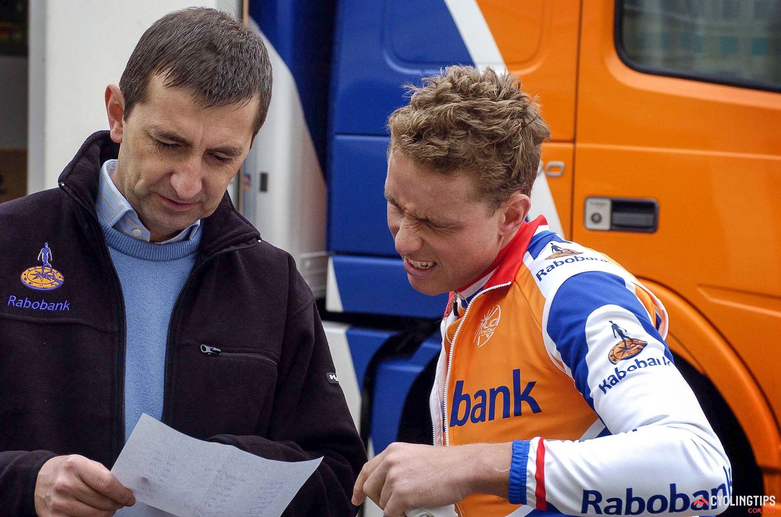 Geert Leinders and Michael Boogerd, Rabobank training camp, January 2005. Photo: Cor Vos.