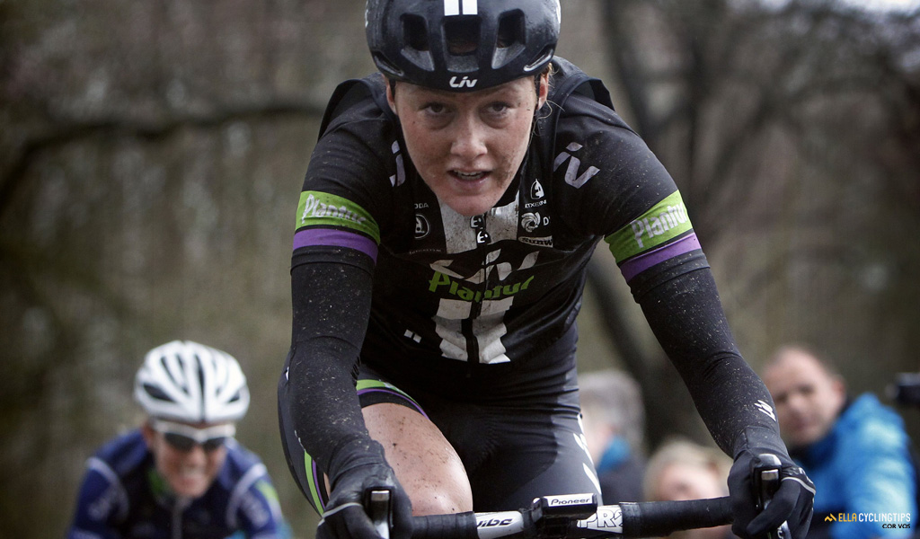 Floortje Mackaij (Liv-Plantur) looking concentrated as she rides towards the win in 2015 Gent-Wevelgem.