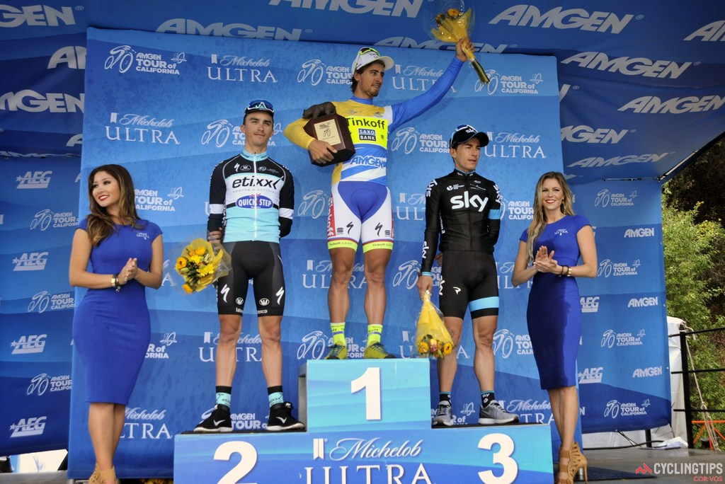Julian Alaphilippe (Etixx-Quick Step), Peter Sagan (Tinkoff-Saxo) , and Sergio Henao (Team Sky) on the final podium of the 2015 Amgen Tour of California. Photo Brian Hodes/Cor Vos.