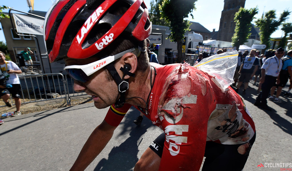 Lotto-Soudal's Greg Henderson was particularly cut up