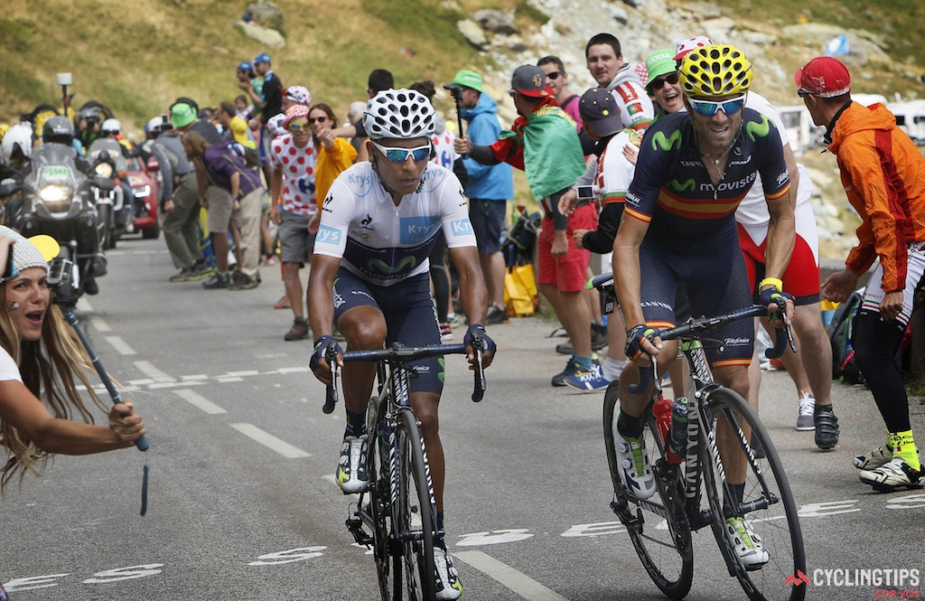 Valverde (right) will ride in support of Quintana (left) at this year's Tour.