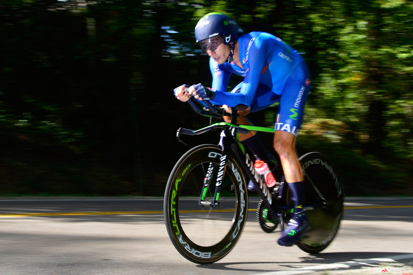 Adriano Malori en route to silver medal in the 2015 Elite world time trial championship in Richmond, Virginia.