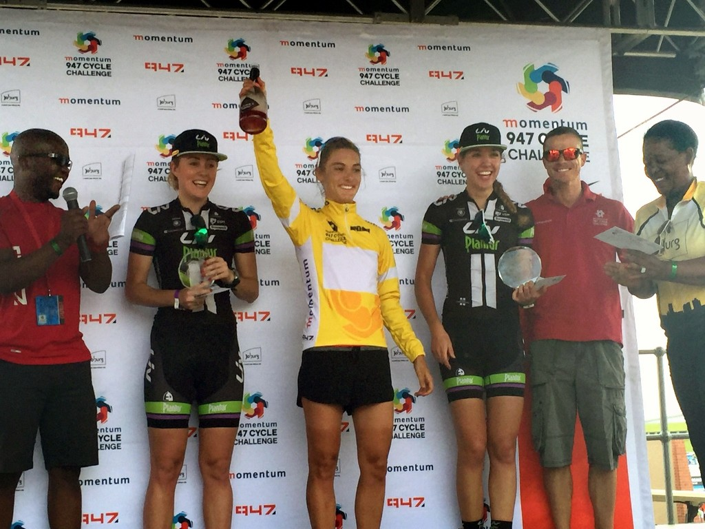 Ashleigh Moolman-Pasio takes the win at the first UCI 1.1 race in South Africa. duo Sabrina Stultiens and Floortje Mackaij who rounded out the podium. Photo: Cor Vos