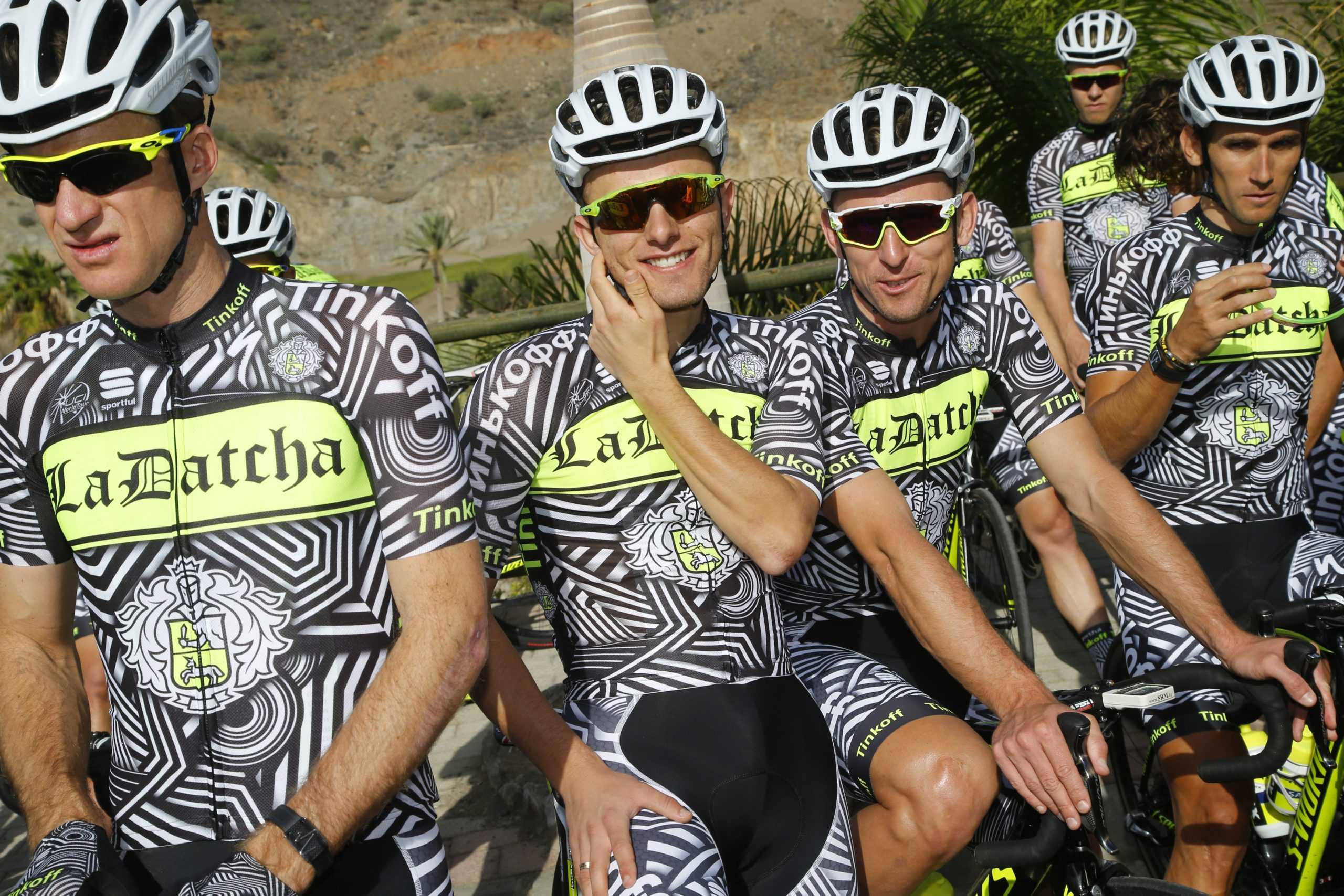 The limited winter training camp kit for Tinkoff, the words La Dutcha is in place of the owner and Olegs surname, Tinkoff. It refers to his second home, a chalet in the French Alps.