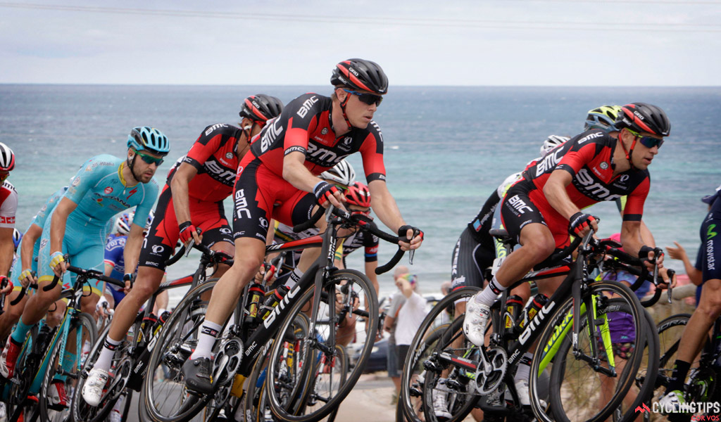 Rohan Dennis and Richie Porte (BMC Racing Team) pictured during stage five of the 2016 Santos Tour Down Under, from McLaren Vale to Willunga Hill