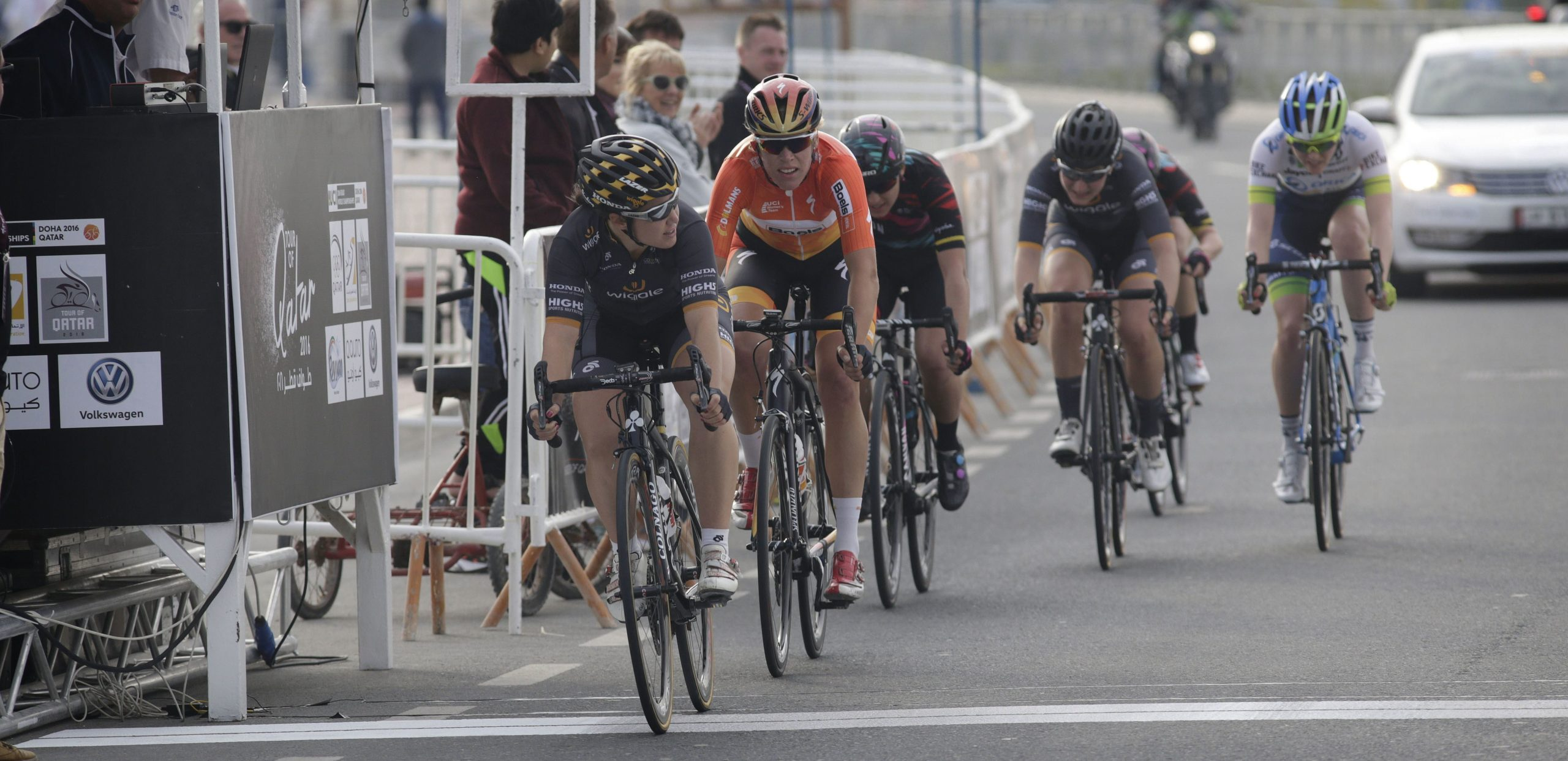 Chloe Hosking wins the sprint for fifth in stage 2 of the Ladies Tour of Qatar.