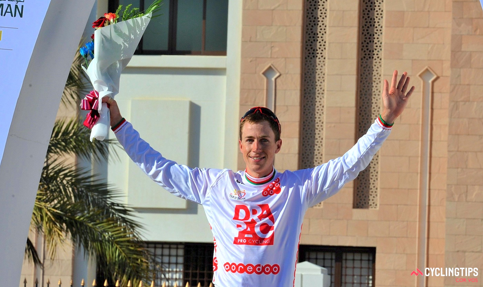 Brendan Canty after winning the best young rider jersey at the 2016 Tour of Oman.