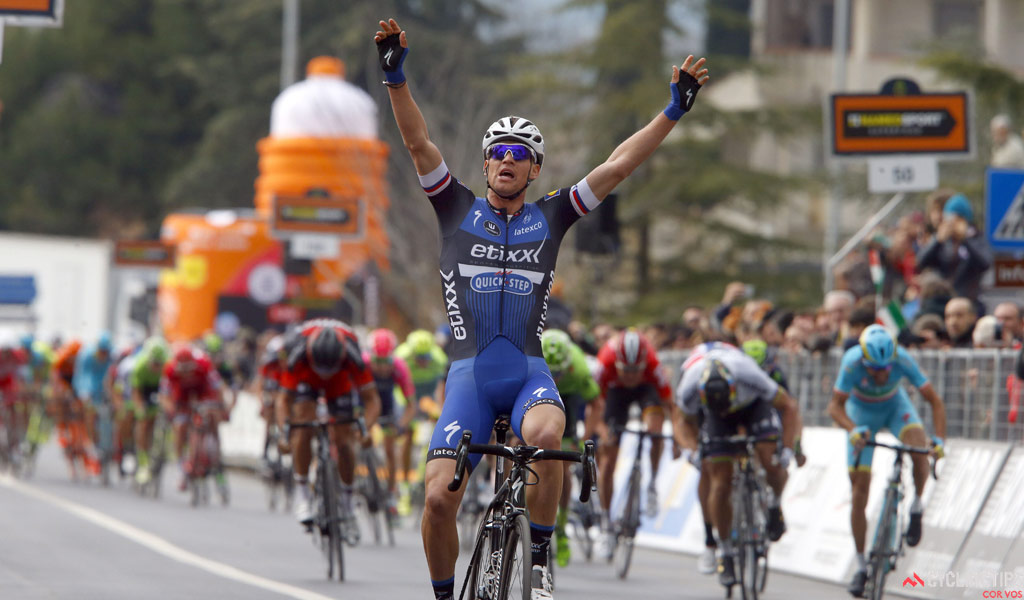 Zdenek Stybar (Etixx-QuickStep) soloed to victory on Stage 2 of the 2016 Tirreno Adriatico, from Camaiore to Pomarance. Photo IB/RB/Cor Vos.