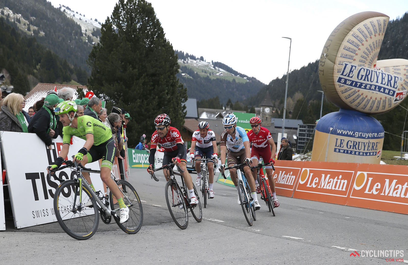Mourgins - Suisse - wielrennen - cycling - radsport - cyclisme - Brown Nathan (USA / Cannondale Pro Cycling Team) - Monfort Maxime (Belgium / Team Lotto Soudal) pictured during the Tour of Romandie - stage 2 from Moudon to Mourgins - photo Rene Vigneron/Cor Vos © 2016