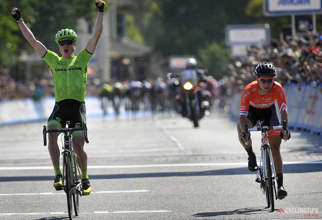 Ben King (Cannondale) out-sprinted Evan Huffman (Rally Cycling) to win Stage 2 of the Amgen Tour of California. Photo Brian Hodes/Cor Vos.