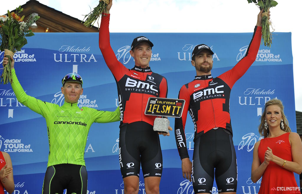Podium, Stage 6 time trial, 2016 Amgen Tour of California: Andrew Talansky (Cannondale), Rohan Dennis (BMC Racing), Taylor Phinney (BMC Racing). Photo Brian Hodes/Cor Vos.