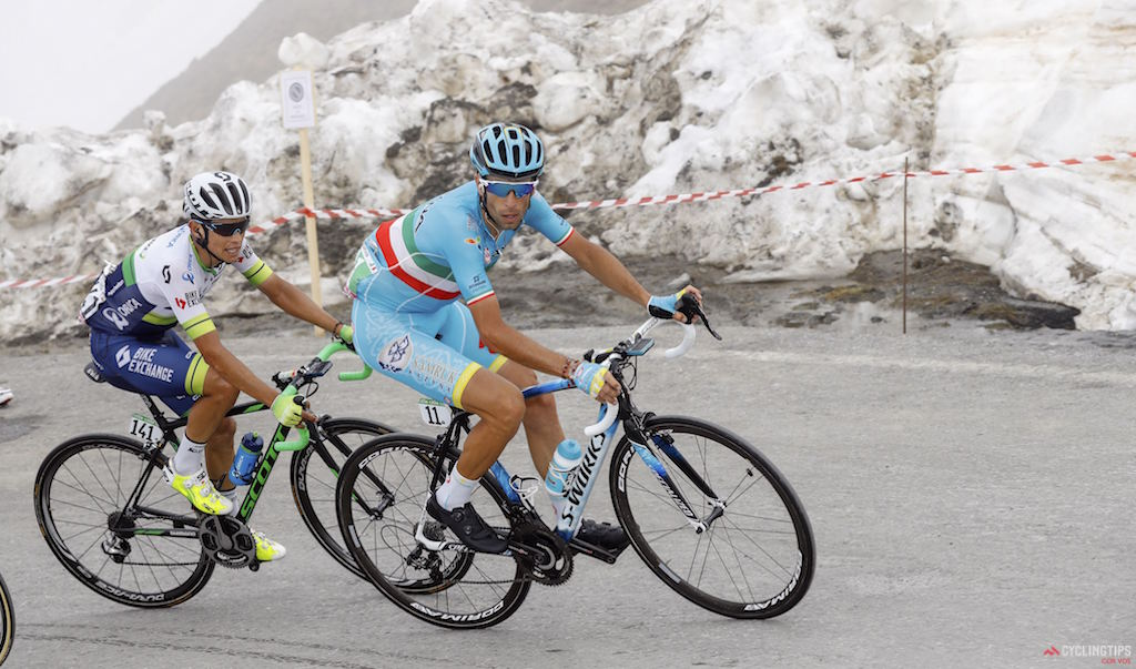 Vincenzo Nibali (Astana) and Esteban Chaves (Orica-GreenEdge) on the Colle dell'Agnello during Stage 19 of the 2016 Giro d'Italia, from Pinerolo to Risoul . Photo: LB/RB/Cor Vos.